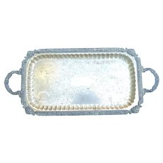 """Silver Plate Footed Tray with Handles 24 1/2"""" x 11"""""""