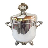 Elegant SilverPlate Ice Bucket Vintage Glass Liner