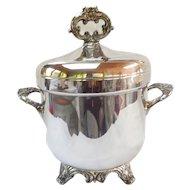 Elegant SilverPlate Ice Bucket Vintage Glass Liner