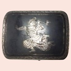 Siam Sterling Silver Niello Ware Belt Buckle Warrior with Axe Vintage
