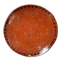 Ned Foltz Redware Pottery Plate Dish Signed Vintage PA