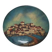 "Dekor Zagreb Large 12 1/4"" Enamel on Copper or Steel Plaque Artist Signed"