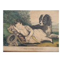 Antique Kellogg Hand Colored Lithograph Boy and Dog - The Tired Soldier