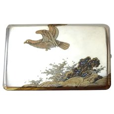 Japanese Silver and Mixed Metals Cigarette Case Box