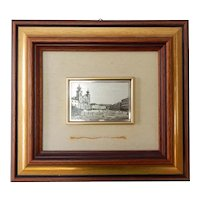 Italian Framed Niello 800 Silver Plaque City Square Vintage