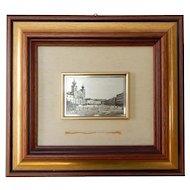 Italian Framed Niello 800 Silver Plaque City Square Vintage
