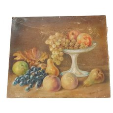 Antique Oil Painting Fruit Still Life Signed C.1910