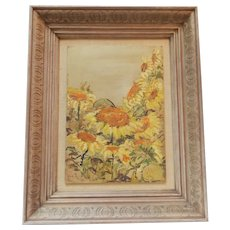 Oil on Board Painting of Sunflowers Signed C.1960