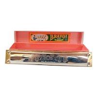 Vintage Hohner Orchester Bravo Harmonica Key C Original Box Germany