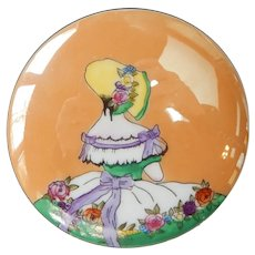 Noritake Art Deco LusterWare Powder Box Lady Woman in Hat