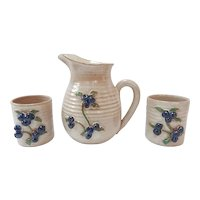 Rowantrees Studio Pottery Pitcher and 2 Cups Signed Blue Hill, ME
