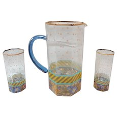 Mackenzie Childs Garland Glass Pitcher and 2 High Ball Glasses