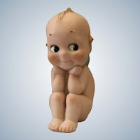 "Large 7"" tall bisque Kewpie Thinker"