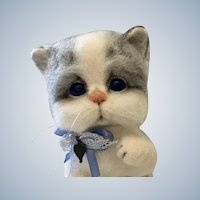 The most adorable Kitten with a wooden block OOAK
