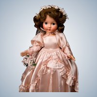 """16"""" Effanbee hard plastic Honey from 1949 in pink satin Bridal gown! Superb in original box!"""