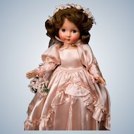 "16"" Effanbee hard plastic Honey from 1949 in pink satin Bridal gown! Superb in original box!"