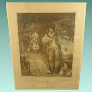 "Charming Antique English Regency Coloured Engraving Print ""The Farm-Yard"" 2 of 2"