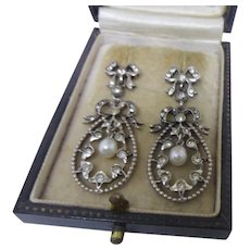 14 DAY SALE! Supreme Antique Edwardian Silver,9ct Gold and Paste Long Drop Earrings with Natural Pearl Tremblers - Red Tag Sale Item