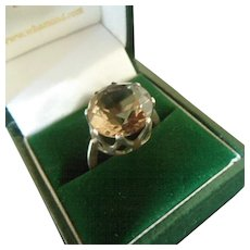 Flashy 1970's Smoky Quartz and Silver Large Cocktail Ring