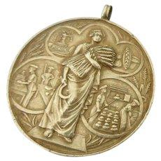 Rare Vintage Art Deco Sterling Silver Baker's Medal Pendant.