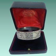 Excellent Antique Victorian HM English Sterling Silver Bangle Cuff Bracelet