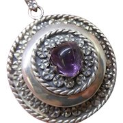 Large Vintage Mexican Taxco Sterling Silver and Amethyst Locket with Chain