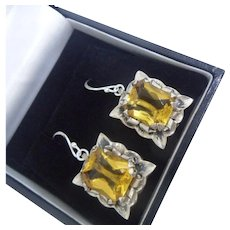 Large Vintage Mexican Sterling Silver and Citrine Glass Dangling Drop Earrings