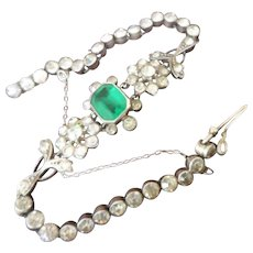 Pristine Antique Edwardian Emerald Green and White Glass Paste Silver Cocktail Bracelet