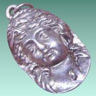 Beautiful Vintage Art Nouveau Lady's Head HM Silver Pendant