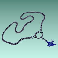 Cheery Antique Edwardian Silver and Enamel Bluebird of Happiness Necklace