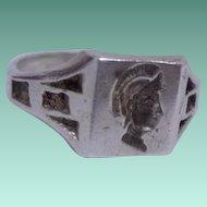 Detailed Vintage Silver Art Deco Man's Intaglio Seal Ring