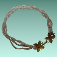 Adorable Antique Edwardian 18ct Gold Clasp Seed Bead Bracelet