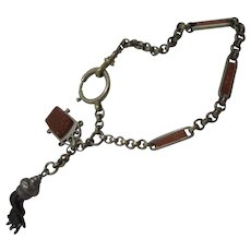 Antique Edwardian 900 Silver & Goldstone Albertina Bracelet with Tassel and Fob