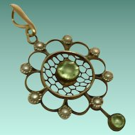 Belle Epoch,Antique French,14ct Gold and Silver,Peridot & Seed Pearl Pendant