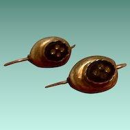 Antique Early C20th Dutch Silver & Onyx Hook Drop Earrings