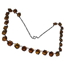 Lively Antique Edwardian Cairngorm Paste and Silver Demi Riviere Necklace