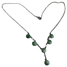Delicate Vintage Art Deco Silver and Green Catseye Chrysoberyl Lavalier Necklace