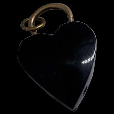 Simple Antique Victorian Whitby Jet Loveheart Bead Pendant