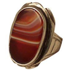 Unique Huge 1960's Modernist Sterling Silver and Scottish Banded Agate Unisex Ring