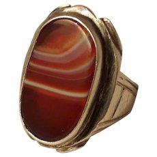 Unique Huge 1960's Modernist Sterling Silver and Scottish Banded Agate Unisex Ring