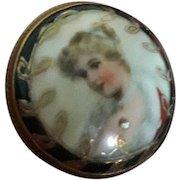 Super Antique Victorian Porcelain Miniature Hand Painted Habile Brooch