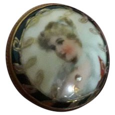 Super Antique Victorian Porcelain Miniature Hand Painted Habile Brooch