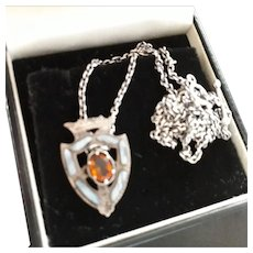 Unusual Antique Victorian Scottish Montrose Agate and Silver Floating Pendant