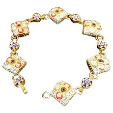 Exceptional Antique Victorian Era Micro Mosaic Link Bracelet