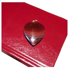 Unique Antique Victorian Scottish Banded Agate Carved Heart Pendant