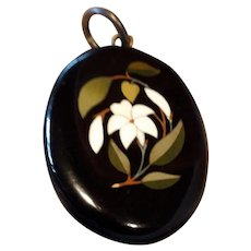 Superb Antique Victorian Whitby Jet and Pietra Dura Large Pendant.