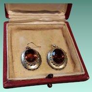 Golden Antique Victorian Vermeil and Citrine Dangling Drop Earrings
