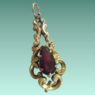 Ornate Antique Victorian 15ct Gold and Teardrop Almandine Garnet Pendant