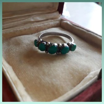 Elegant Antique Georgian Turquoise and Sterling Silver Ring