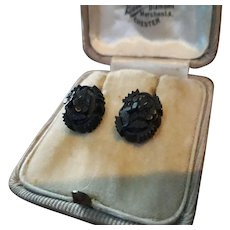 Wonderful Hand Carved Antique Victorian Whitby Jet Hook Earrings